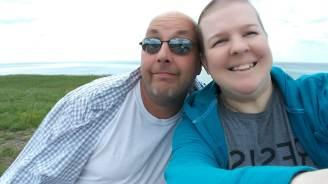 Emily and Dan at lake michigan